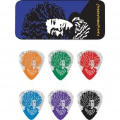 Dunlop JVHPT03M John Van Hamersveld Jimi Pick Tin, Assorted, Medium, 6 Picks/Tin